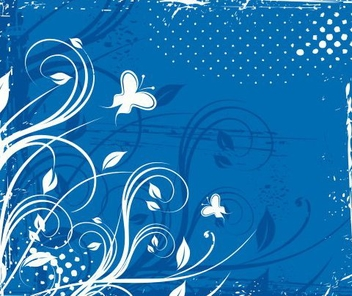 Swirling Corner Butterflies Blue Background - vector gratuit #335647