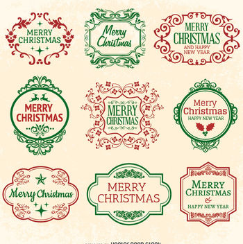 Christmas Emblem seal set - vector gratuit #335677