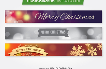 Christmas 468x60 half page ad banners set - vector gratuit #335687