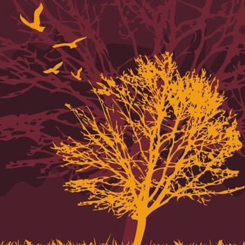 Crooked Tree Birds Silhouette Landscape - vector gratuit #335817