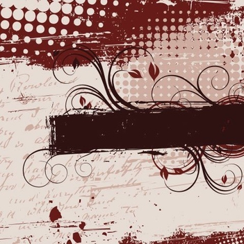 Grungy Halftones Swirling Frame Banner - Free vector #335857