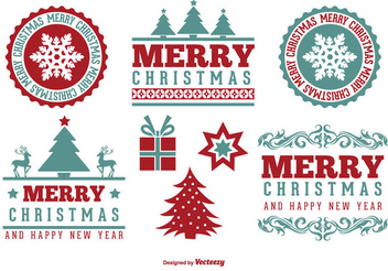 Retro Decorative Christmas Label Pack - Kostenloses vector #335877