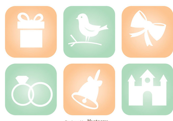Wedding Round Square Icons - vector gratuit #335977