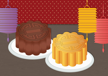 MoonCake Vector Illustration - Free vector #336047