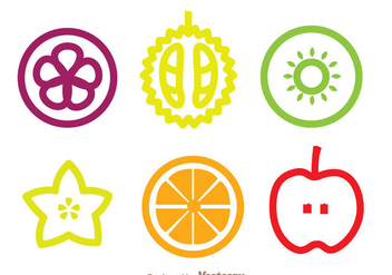 Slice Fruits Icons - vector gratuit #336117