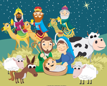 Christmas Nativity scene Birth of Jesus Christ - Free vector #336357