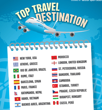 2016 Travel destination list template - Free vector #336387