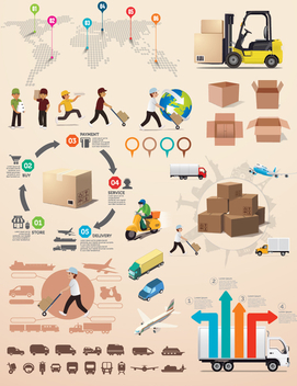 Logistics infographic elements - Free vector #336397