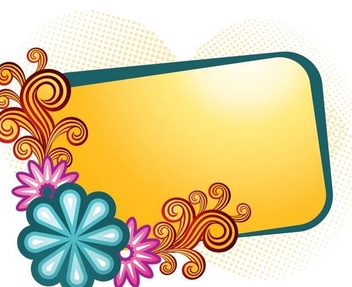 Orange Banner Colorful Swirls Frame - vector gratuit #336417