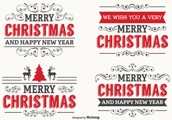 Decorative Christmas Label Set - vector gratuit #336427