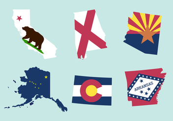 Vector Set of State Maps and Flags - Free vector #336577