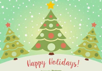 Happy Holidays Christmas Postcard - vector gratuit #336587
