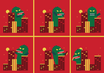 Godzilla Vector Illustrations - бесплатный vector #336737