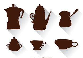 Arabic Coffee Pot And Cup Silhouette - Free vector #336757
