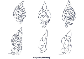 Hand Drawn Thai Pattern Vector - Free vector #336817