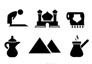 Arabic Black Icons - Free vector #336847
