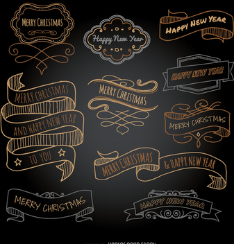 Christmas and new year doodle ribbons - vector #336877 gratis