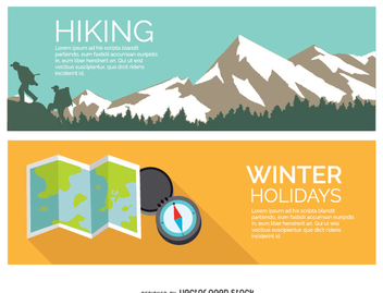 Hiking winter holidays - Free vector #336977