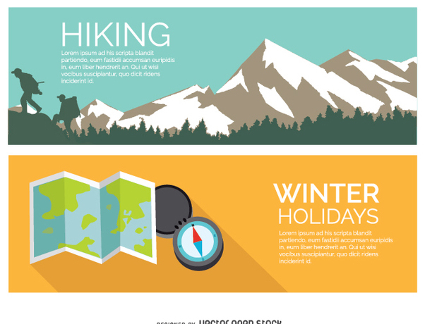 Hiking winter holidays - vector gratuit #336977