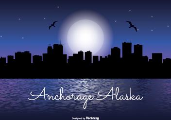 Anchorage Alaska Night Skyline - Free vector #337097