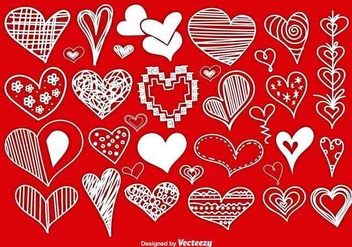 Scrapbook style hand drawn hearts - vector gratuit #337117