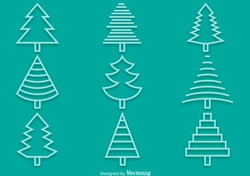 Line pine icons - Free vector #337137