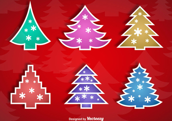 Christmas tree stickers - Free vector #337187