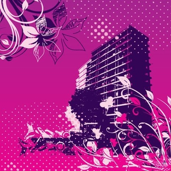 Floral Swirls Grungy Buildings Background - бесплатный vector #337197