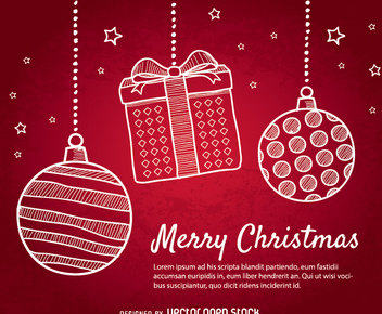 Red Christmas background with doodle Christmas balls - Free vector #337207