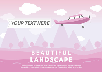 Free Beautiful Landscape Vector Backround with Airplane - Free vector #337247