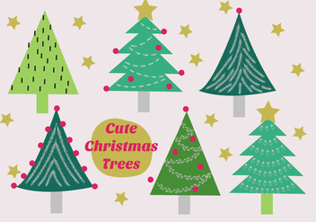 Free Set of Christmas Trees Vector - Free vector #337317