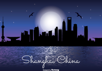 Shanghai Night Skyline Illustration - бесплатный vector #337667