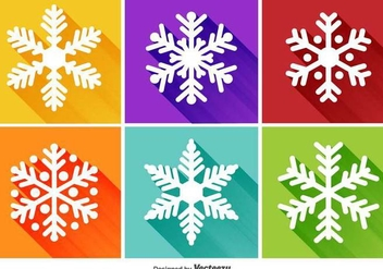 Snowflakes Flat Icons - Free vector #337707
