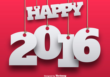 Happy new year 2016 - vector gratuit #337737