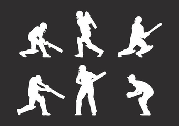 Silhouette Cricket Player Vector - Kostenloses vector #338047