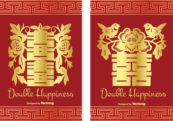 Chinese Double Happiness Card Set - vector gratuit #338167