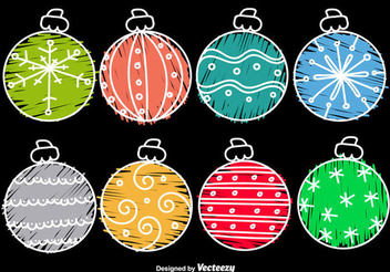 Hand Drawn Funky Christmas Balls - vector gratuit #338177