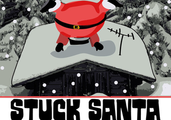 Free Cute Stuck Santa Vector Background - Kostenloses vector #338417