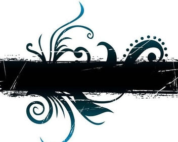 Grungy Banner Floral Swirls - Free vector #338437
