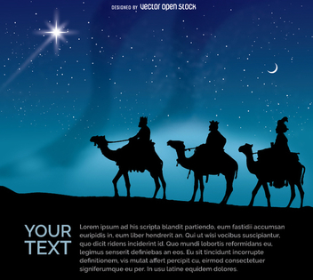 The three Wise men riding their camels at night - vector gratuit #338857