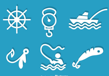 Fishing White Icons - vector gratuit #339257