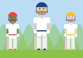 Free Cricket Players Vector - Free vector #339267