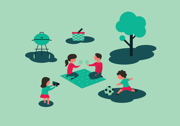 Family Picnic Illustrations - Free vector #339287