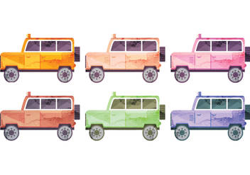 Set of Vector Watercolor Cars - Free vector #339387