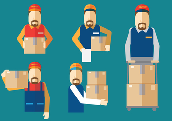 Delivery Man Vectors - Free vector #339437