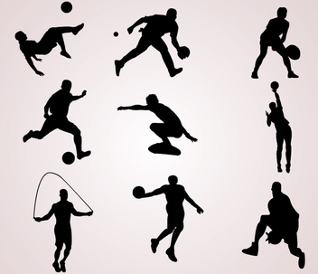 Sportsmen Silhouettes - Free vector #341007
