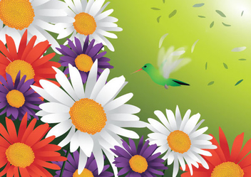 Spring Flowers Bird - vector gratuit #341157