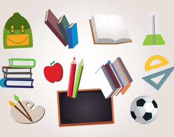 Funky Colored Education Icons - Free vector #341177