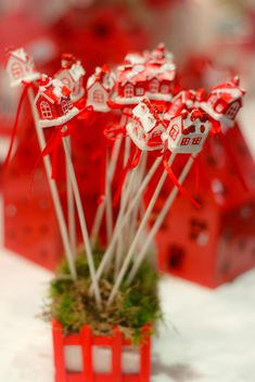 Close up of red Christmas decoration sticks - image #341457 gratis
