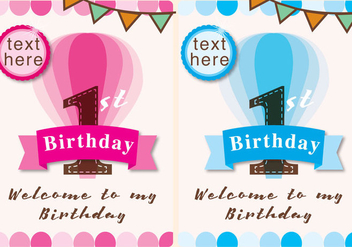 Invitation 1st Birthday Girl and Boy - бесплатный vector #341607